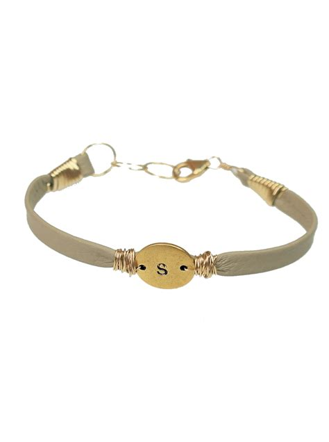 Lines Silver Leather b monogram thick leather bracelet bloom jewelry