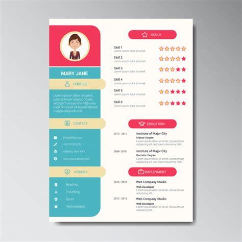 Curriculum Vitae Design Template by Unique Flat Color Curriculum Vitae Design Template With