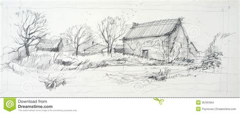 Two Story Barn Plans sketch of an old barn stock images image 35181954