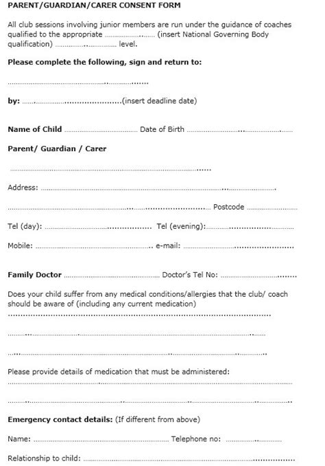 parental consent form template uk 10 free sle travel consent form printable sles