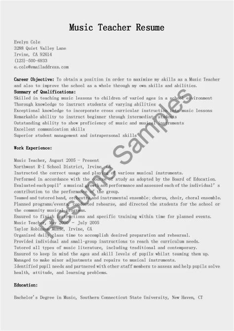 resume sles music teacher resume sle