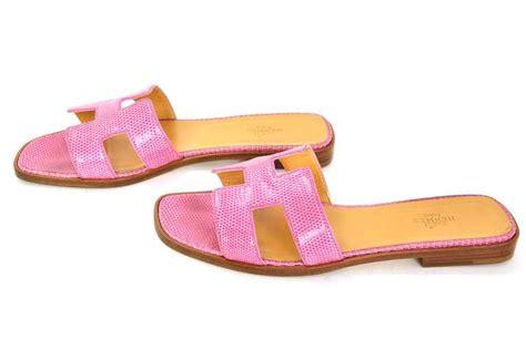 hermes h sandals hermes pink lizard leather oran h sandals shoes sz 39 at