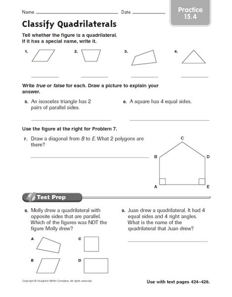 types of quadrilaterals worksheet 4th grade worksheets