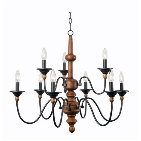 kenroy home madeline 9 light wood chandelier 93529lwg