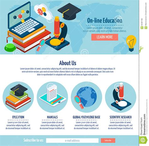 one page online education design stock vector image
