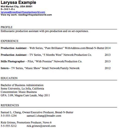 production assistant job description resume freelance pa film sets