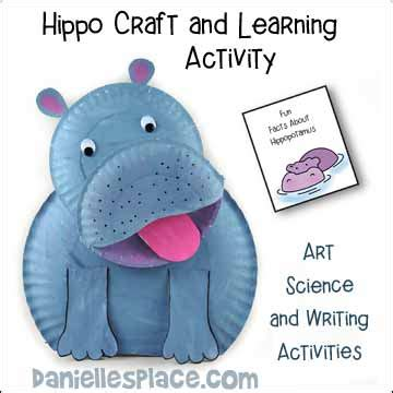 Hippo Paper Plate Craft - hippopotamus crafts and learning activities