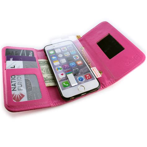apple iphone siphone  wallet case hot pink purse
