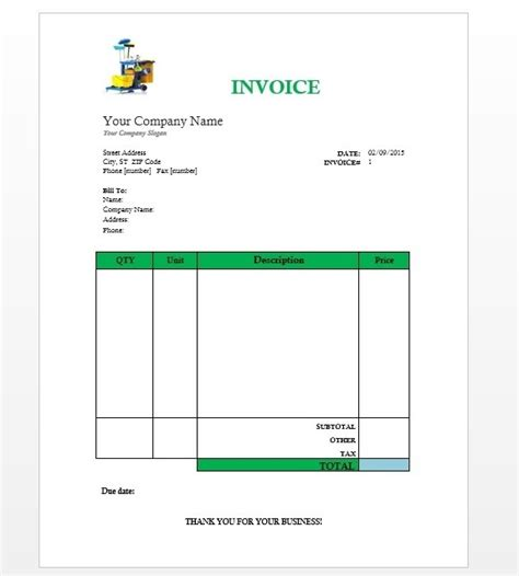 invoice template cleaning services word cleaning services invoice word invoice template