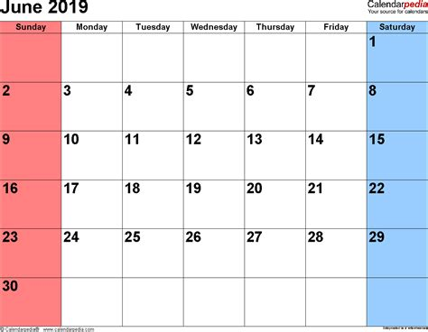 Calendar 2019 Pdf June 2019 Calendars For Word Excel Pdf