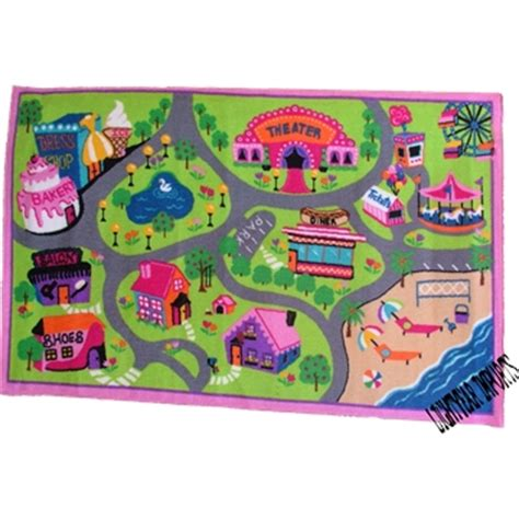Pink Car Play Mat by Pink City Roads Car Track Rug