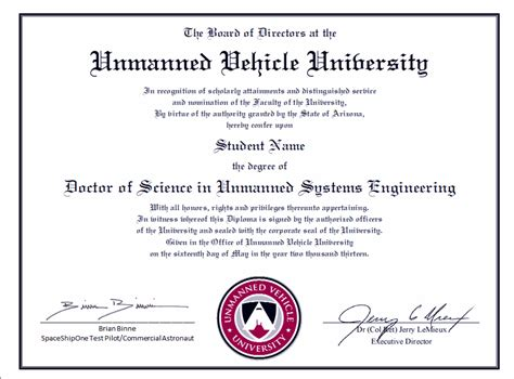 doctorate degree unmanned vehicle university