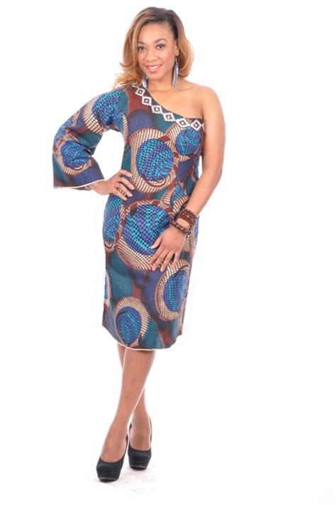 Royal Blue Brown and Beige African Print Mono Sleeve Dress Dp2545 Dupsies Chic African Clothing