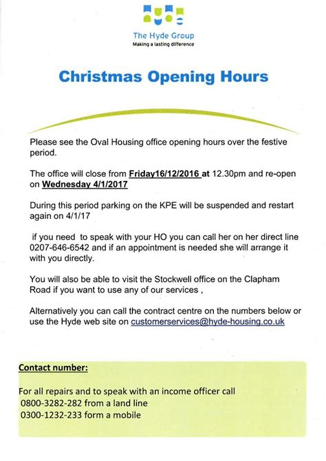 housing office hours oval housing office christmas opening hours kennington park estate residents