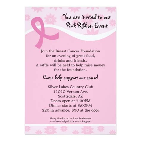 Fundraising Letter For Breast Cancer Pink Ribbon Breast Cancer Event Invitation Zazzle
