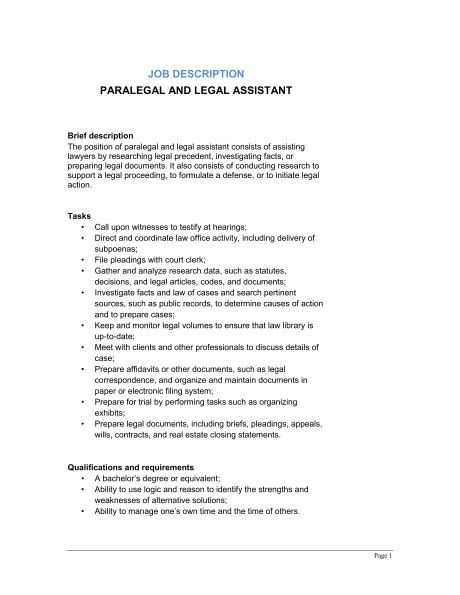 perfect paralegal job description for resume resume template for