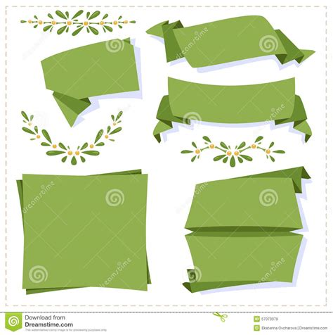 Origami Mistletoe - collection paper origami banner stock vector image 57073379