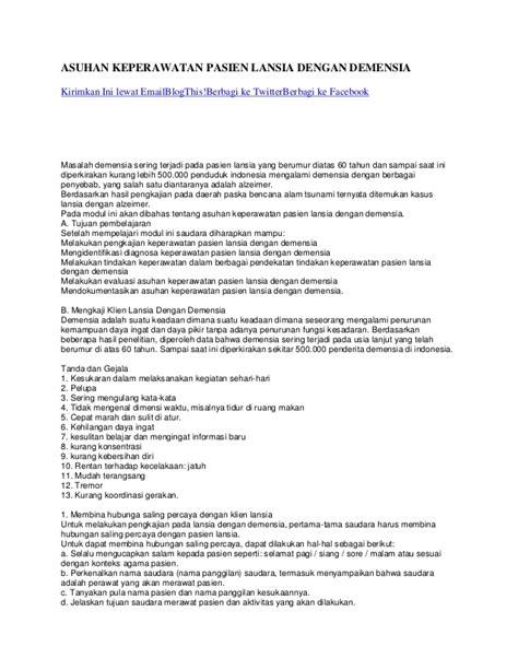 format evaluasi asuhan keperawatan asuhan keperawatan pasien lansia dengan demensia akper