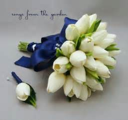 Bridal bouquet white navy blue ribbon groom boutonniere tulip wedding