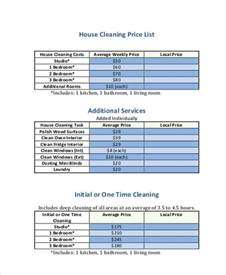 House Cleaning Cost Of House 19 Price List Sles In Pdf
