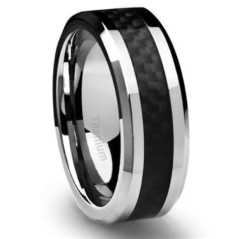 Men's Titanium Ring Wedding Band Black Carbon Fiber 8mm