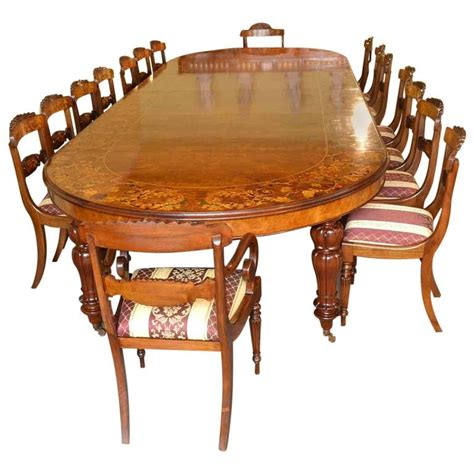Walnut Dining Room Table And Chairs Marquetry Dining Table 16 Chairs Extending Walnut For Sale At 1stdibs