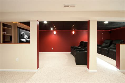 theater room   small basement remodel traditional