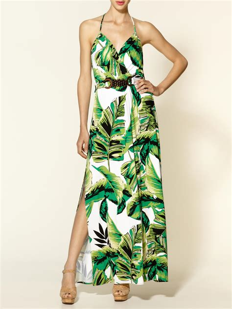 Milly Halter Banana Leaf Print Maxi Dress in Green   Lyst