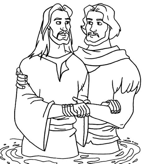 john the baptist baptism jesus coloring pages christening free colouring pages