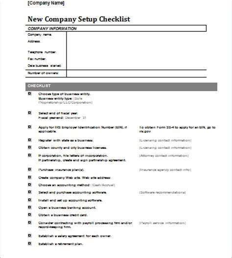 new business checklist template document templates part 4