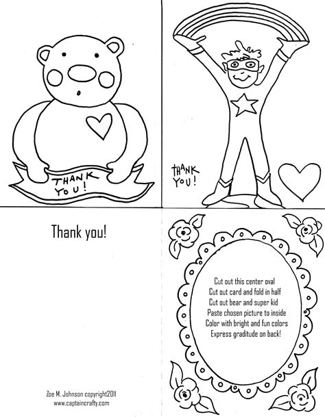coloring pages of thank you cards printables archive the handmade adventures of captain