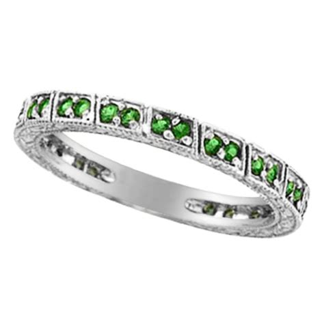 emerald stackable ring band 14k white gold allurez