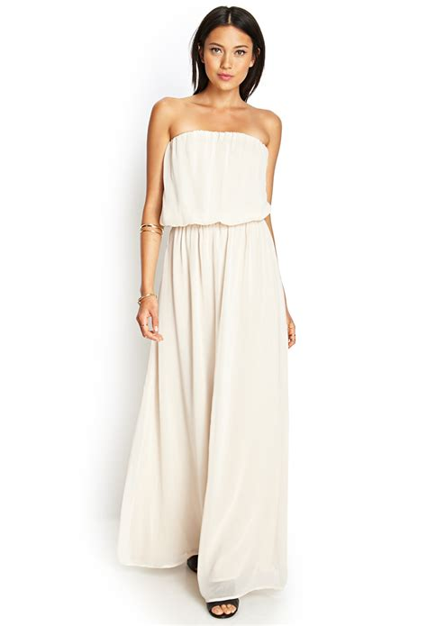 Strapless Maxi Chiffon Dress forever 21 strapless chiffon maxi dress in white taupe