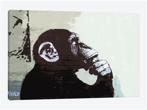 3d Wallpaper For Bedroom by The Thinker Monkey Canvas Art Print By Banksy Icanvas