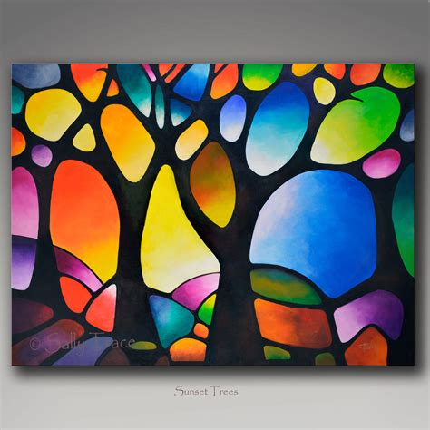 Moderne Glasmalerei Vorlagen giclee print on canvas from my abstract tree painting