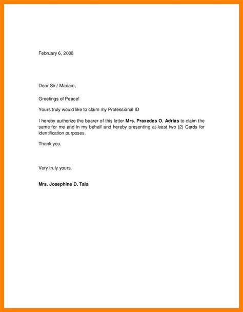 authorization letter with id 5 sle authorization letter to claim handy resume