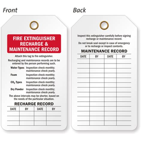printable fire extinguisher tags monthly fire extinguisher inspection tags
