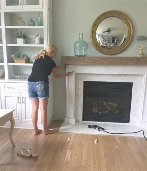 how to build a fireplace surround for a diy wood beam mantel