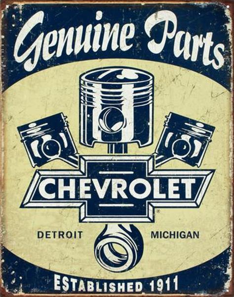 chevrolet chevy genuine parts pistons tin sign at