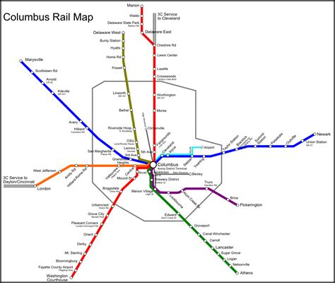 potential columbus commuter rail map xing columbus