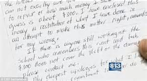 Apology Letter To Husband For Hurting Him Thief Returns 300 He Stole From School In 1996 With Note Of Apology Daily Mail