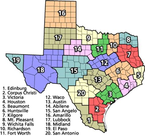texas school regions map dominating 12 texas