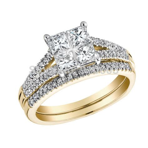 fashion 9k yellow gold wedding band set simple princess