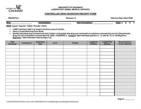 controlled substance log sheet template aiyin template