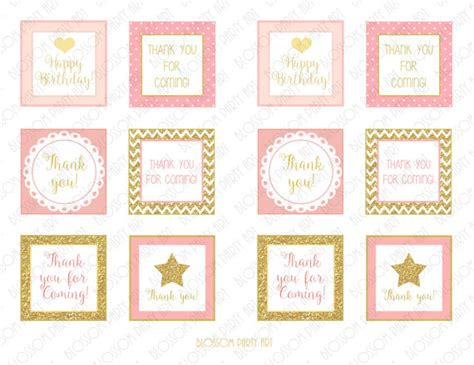 printable gift tags gold items similar to pink gold birthday favor tags printable