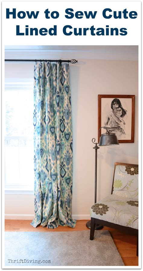 how to make lined draperies how to sew cute lined diy curtains thrift diving blog