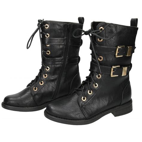 koi couture mid calf boots flat lace up combat