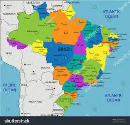 brazil political map colorful brazil political map clearly labeled stock vector