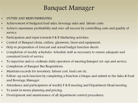 Banquet Manager Description by Organisation Duties And Attributes Of Food And Beverage Staff