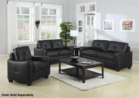 Black Sofa And Loveseat Set by Coaster 502721 502722 Black Leather Sofa And